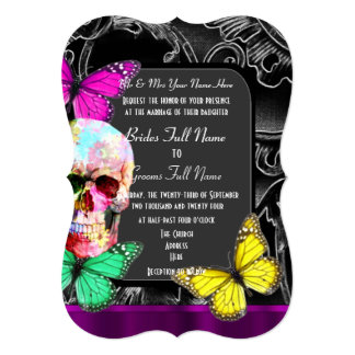 Alternative gothic sugar skull wedding 13 cm x 18 cm invitation card