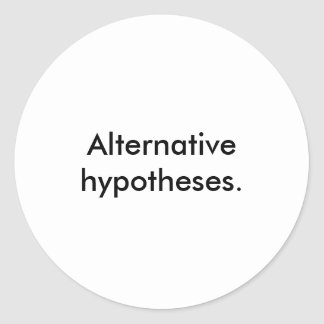 'Alternative hypotheses.' Stickers