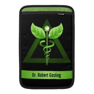 "Alternative Medicine Green Caduceus 11"" Vertical MacBook Sleeve"