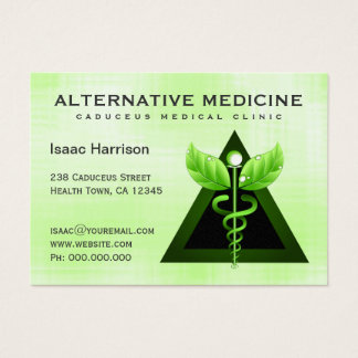 Alternative Medicine Light Green Caduceus Large Business Card