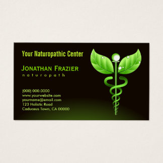 Alternative Medicine Naturopath Green Caduceus Business Card