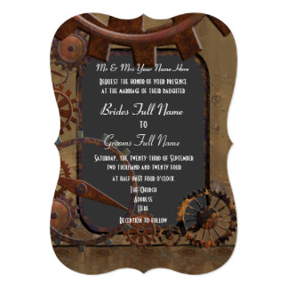 Alternative steampunk wedding 13 cm x 18 cm invitation card