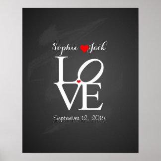 Alternative wedding guest book LOVE chalkboard Poster
