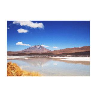 Altiplano landscape with volcano in Bolivia Canvas Print