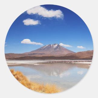 Altiplano landscape with volcano in Bolivia Classic Round Sticker