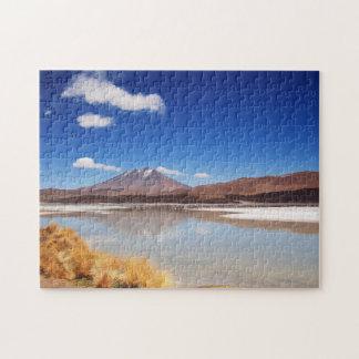 Altiplano landscape with volcano in Bolivia Puzzles