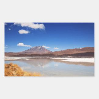 Altiplano landscape with volcano in Bolivia Rectangular Sticker