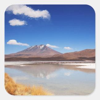 Altiplano landscape with volcano in Bolivia Square Sticker