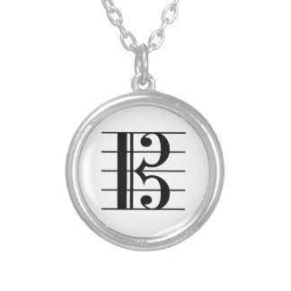 Alto Clef on Staff Silver Plated Necklace