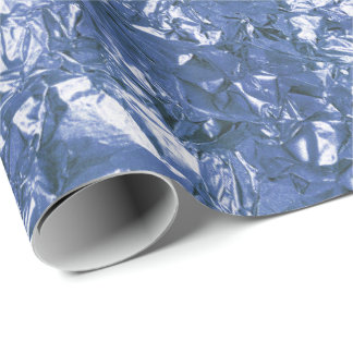 Aluminium Foil Blue Navy Metallic Wrinkled Wrapping Paper