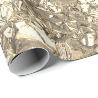 Aluminium Foil Gold Faux Champaign Wrinkled Wrapping Paper