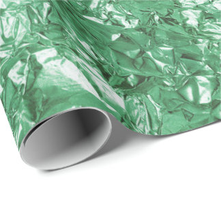 Aluminium Foil Greenery Green  Metallic Wrinkled Wrapping Paper