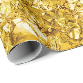 Aluminium Foil Lemonade Yellow  Metallic Wrinkled Wrapping Paper