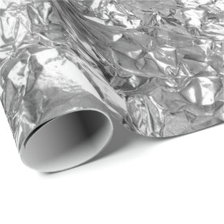 Aluminium Foil Silver Gray Metallic Wrinkled Wrapping Paper