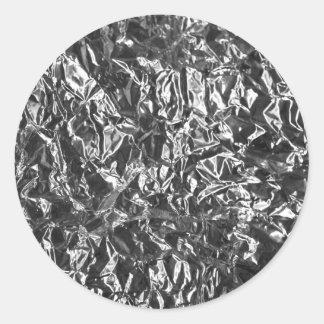 Aluminium foil texture classic round sticker