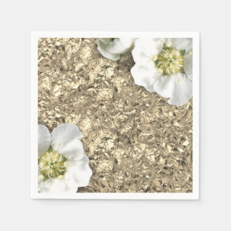 Aluminium Metallic Gold White Faux Jasmin Floral Disposable Napkin