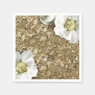 Aluminium Metallic Gold WhiteSequin Sparkly Floral Disposable Napkins
