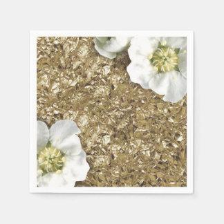 Aluminium Metallic Gold WhiteSequin Sparkly Floral Disposable Serviette
