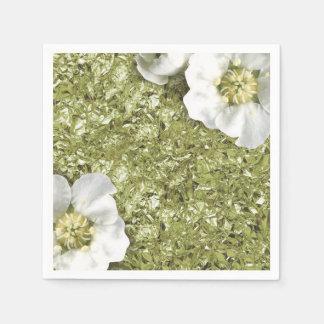 Aluminium Metallic White Floral Mint Green Creased Paper Napkin