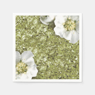 Aluminium Metallic White Floral Mint Green Creased Paper Serviettes