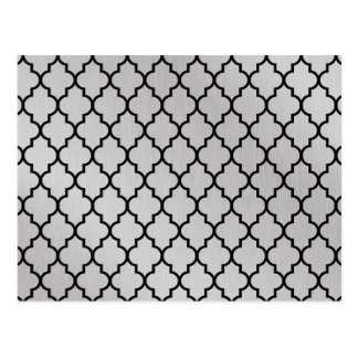 Aluminium Moroccan Quatrefoil Pattern Postcard