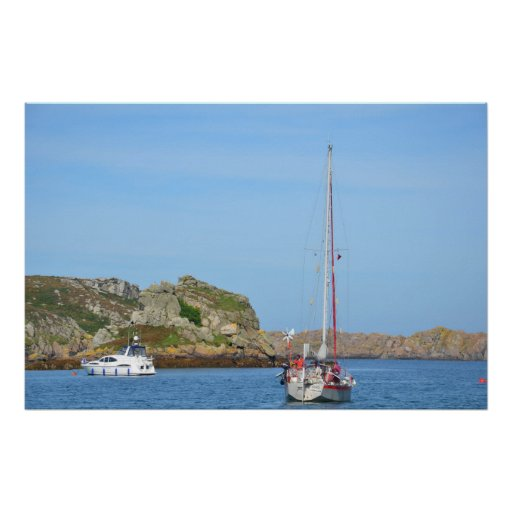 Aluminium Yacht Moored In The Isles Of Scilly Poster