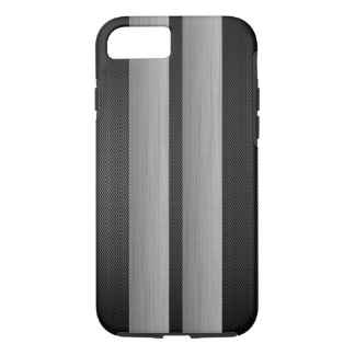 Aluminum and carbon fiber look racing race stripes iPhone 8/7 case