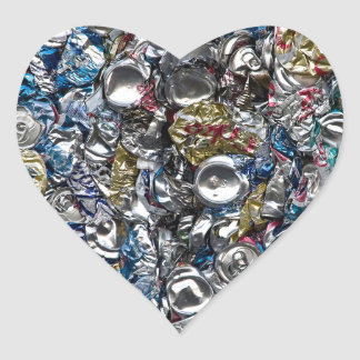 Aluminum Cans Being Recycled Heart Sticker