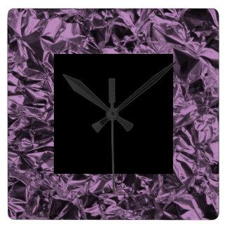 Aluminum Foil Design in Lavender Square Wall Clock