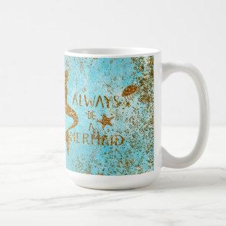 Always be a mermaid- gold glitter mermaid vision coffee mug