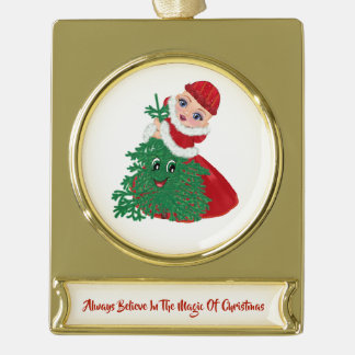 Always Believe In The Magic Of Christmas Gold Plated Banner Ornament