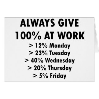 Always give 100% at work card