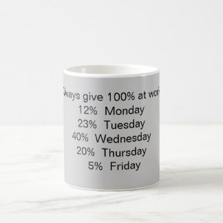 Always give 100% at work: coffee mug