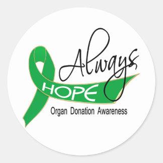 Always Hope Organ Donation Round Sticker
