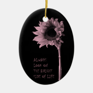 """""""Always Look on the Bright Side of Life"""" Sunflower Ceramic Oval Decoration"""