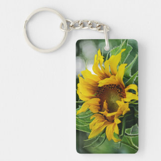 """""""Always Look on the Bright Side of Life"""" Sunflower Double-Sided Rectangular Acrylic Key Ring"""