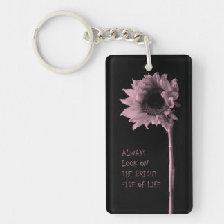 """""""Always Look on the Bright Side of Life"""" Sunflower Single-Sided Rectangular Acrylic Key Ring"""