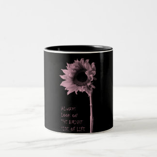"""""""Always Look on the Bright Side of Life"""" Sunflower Two-Tone Coffee Mug"""