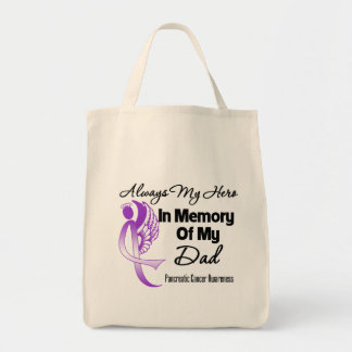 Always My Hero In Memory Dad - Pancreatic Cancer Canvas Bags
