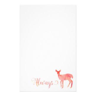 Always Pink Watercolor Doe Deer Stationery