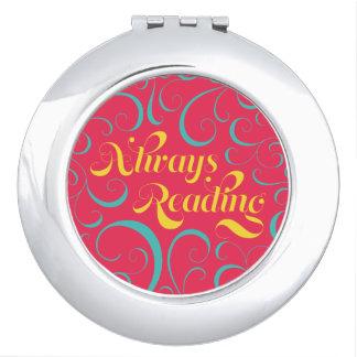 Always Reading Bright Pink Blue Yellow Swirls Travel Mirror