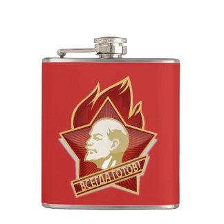 Always ready - slogan Soviet Pioneer Organisation Hip Flask