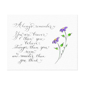 Always Remember inspirational typography quote Canvas Print