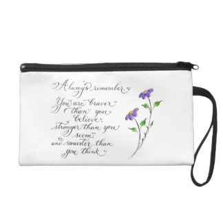 Always Remember inspirational typography quote Wristlet