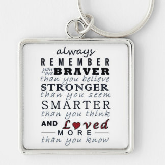 Always Remember Silver-Colored Square Key Ring