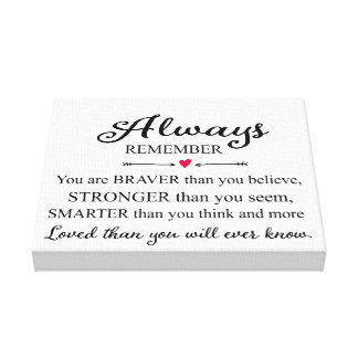 Always Remember You Are Loved Wall Print Gallery Wrapped Canvas