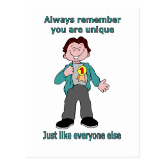 Always remember you are unique postcard