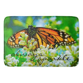 """""""Always Sparkle"""" Orange Monarch Butterfly Photo Bath Mat"""