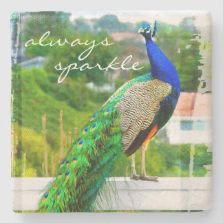 """Always Sparkle"" Quote Blue Green Peacock Photo Stone Coaster"