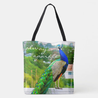 """Always sparkle"" quote blue green peacock photo Tote Bag"